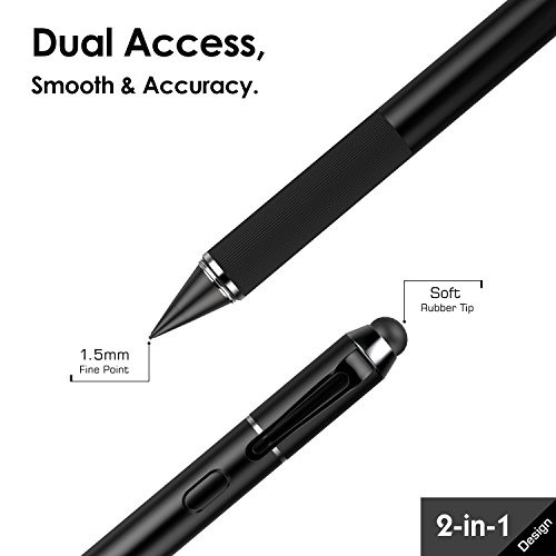MoKo Active Stylus Pen, 2-in-1 High Sensitivity and Precision Point 1.5mm Capacitive Stylus, with Soft Rubber Tip, for Touch Screen Devices Tablet/Smartphone iPhone X/ 8/8 Plus, iPad, Samsung - Black by MoKo (Image #1)