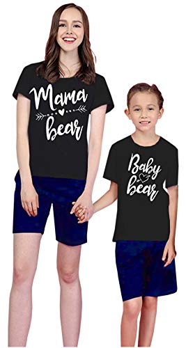 Mommy and Me Mama Bear & Baby Bear Print Short Sleeve Black T-Shirt Family Matching Letter T Shirt Clothes Outfits (Mama&Baby Bear, Mom/XL)