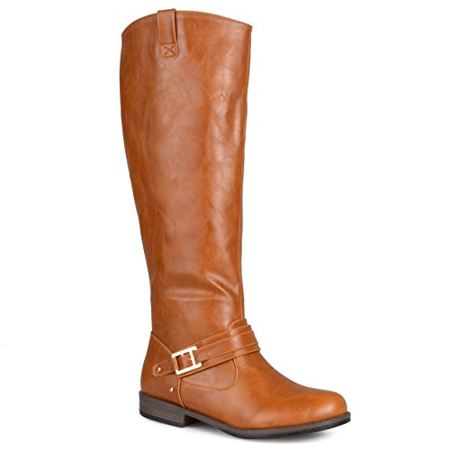 Journee Collection Womens Regular Sized and Wide-Calf Ankle-Strap Square-Buckle Riding Boot Chestnut (Sale Boots)