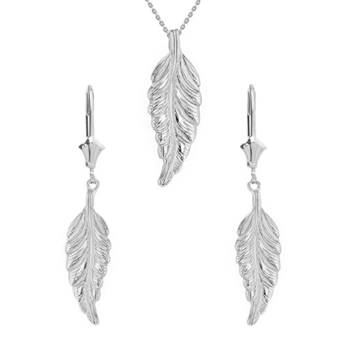 Claddagh Gold 925 Sterling Silver Bohemia Leaf Feather Necklace and Earring Set, 16