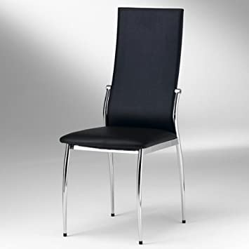 Esszimmer Stuhl DORIS   Set Mit 4 Stühlen   Chrom   Farbauswahl,  Farbe:Schwarz