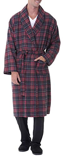 Fruit of the Loom Men's Flannel Lounge Robe, Red/Grey, One Size
