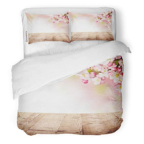 Plank Table Cherry (Emvency 3 Piece Duvet Cover Set Brushed Microfiber Fabric Breathable Colorful Table Cherry Blossoms with Empty Wooden Planks Pink Easter Flower Bedding Set with 2 Pillow Covers Twin Size)