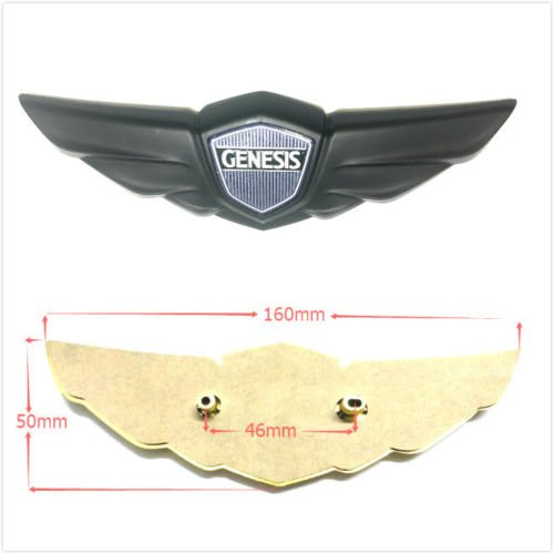 Minigo HD-4RB Custimzed Genesis Rear Trunk Tailgate Emblem Badge Chrome 2009-2014 for Hyundai Genesis (Black) (Hyundai Genesis Badge)