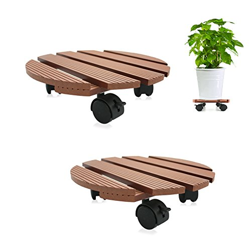 CERBIOR Plant Caddy Heavy Duty Plant Stand with wheels Indoor/Outdoor holds up to 12 inches and 80 lbs strong and sturdy design (Round, Merbau) 2Pack by CERBIOR