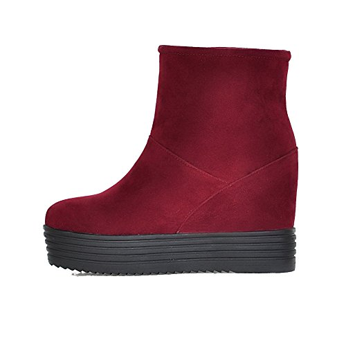 AmoonyFashion Womens Solid High-Heels Closed Round Toe Imitated Suede Pull-on Boots Claret dzPutY