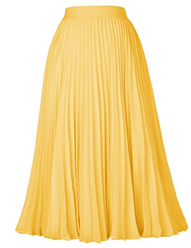 Evening Wear Accessories - Kate Kasin Plus Size Pleated Flared Midi Skirt Cocktail Evening Party Yellow Size 2XL KK659-7