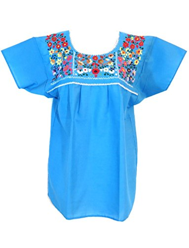 Mexican Embroidered Blouse (Leos Mexican Imports Mexican Puebla Blouse (Large, Aqua))