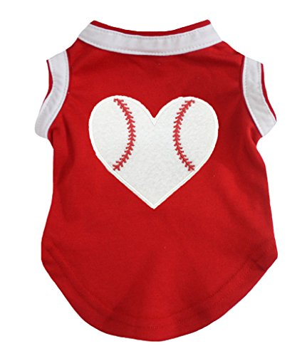 (Petitebella Puppy Clothes Dog Dress Baseball Heart Red White Cotton T-Shirt (Medium))