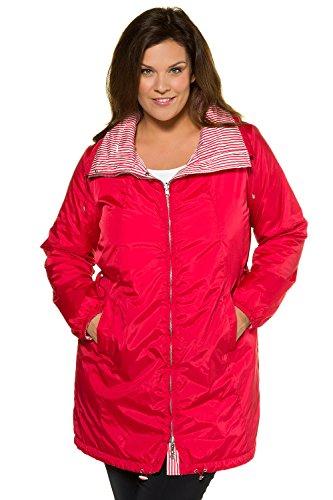 Ulla Popken Women's Plus Size Reversible Stripe Waterproof Jacket Red 12/14 714533 51 by Ulla Popken