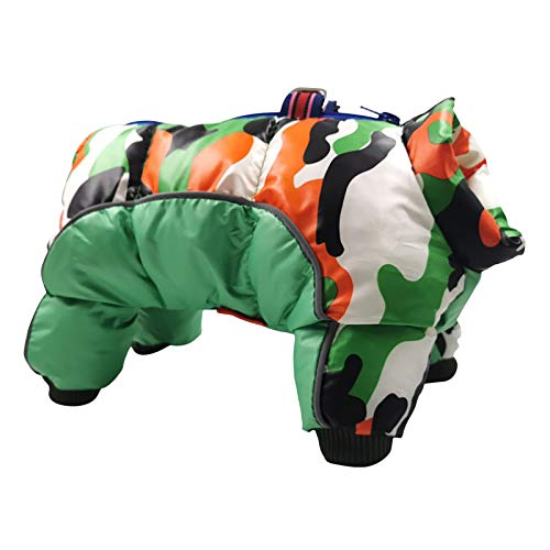 FeiFei66 Pet Camouflage Waterproof and Cold-Proof Four-Legged Cotton Clothing for Dog and Cat Winter Warm Pet Coat