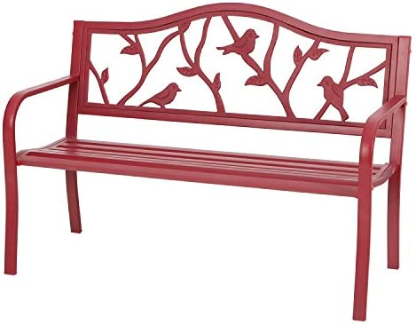 Sophia William Outdoor Patio Metal Bench Red, Steel Frame Bench with Backrest and Armrests for Porch, Patio, Garden, Lawn, Balcony, Backyard and Indoor, 50.4 Wx23.5 D x35.0 H