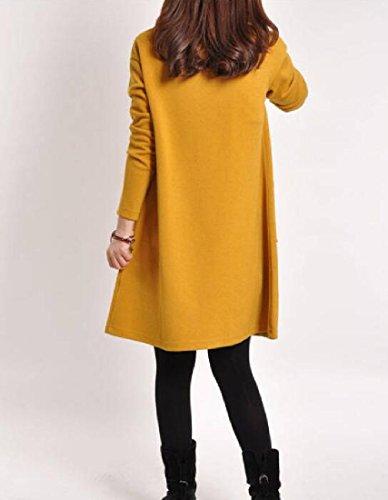 Fit Long Sleeve Movement Women's Solid Coolred Yellow Sundress Slim xUXX47