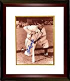 Johnny Mize Autographed New York Giants Sepia 8x10 Photo Custom Framed kneeling with bat