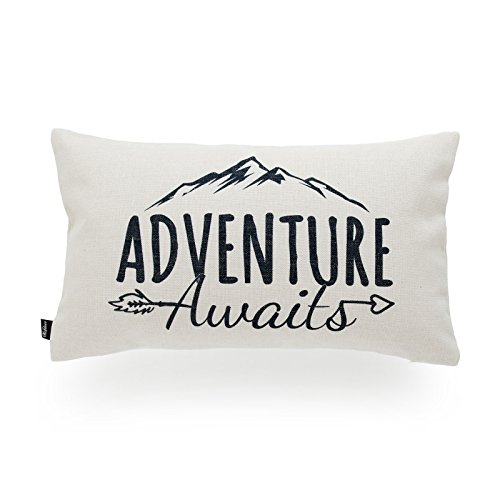 Hofdeco Decorative Lumbar Pillow Cover HEAVY WEIGHT Cotton Linen Spirit Quotes Adventure Awaits Word 12