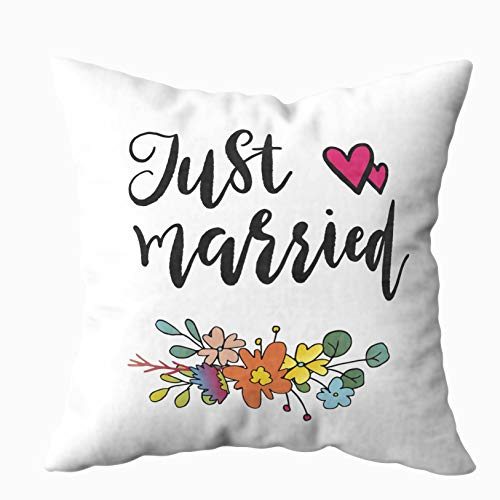 - Musesh 20x20 Pillow Covers, Just Married Labels Card Wedding Invitation with Flowers in Simple Style Isolated for Sofa Home Decorative Pillowcase Zip Pillow Covers