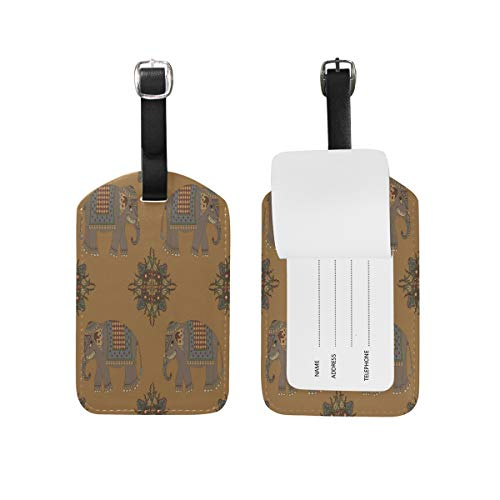 Africa Cute Elephant Luggage Tags USA Travel Air Label Card (2PCS) by Nigbin