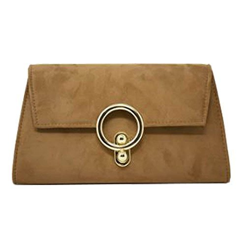 Suede Ring Bag Handbag Clutch Detail Lock Faux Ladies Party Khaki Metal gxqwIa85S