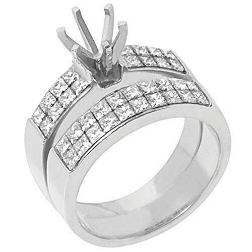 Mount Semi Set Gold Invisible - 18k White Gold Princess Cut Diamond Engagement Ring Semi Mount Set 2 Carats