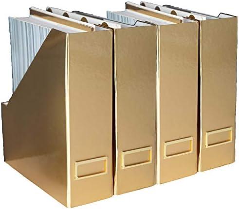 BLU MONACO Foldable Gold Magazine File Holder with Gold Label Holder – Set of 4 Cardboard Magazine Holder Boxes – Gold Desk Accessories