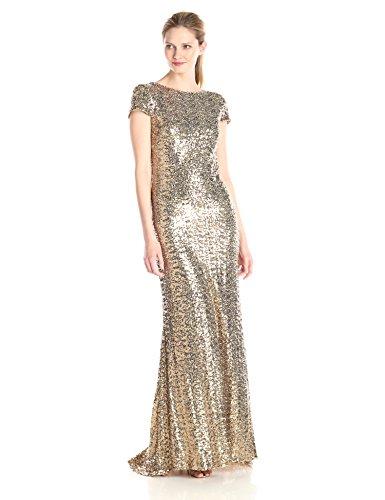Badgley Mischka Cocktail Dress - Badgley Mischka Women's Cowl Back Sequin Classic Gown, 0 - Gold