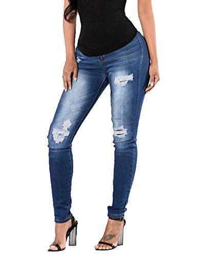 Immagine Lungo Skinny Sottile Come Strappati Pantaloni Donne Blu Leggings Lunghi Eleganti Jeans Casuale 70p4Z
