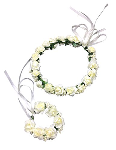 Lujuny Double Layer Flower Crown Wrist Set – Floral Garland Headband For Baby Shower Wedding Party Photoshoot (White Adult)