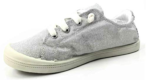 (Forever Link Women's Classic Slip-On Comfort Fashion Sneaker, Silver, 7.5)