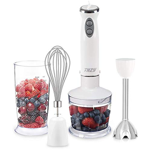 Deoxygene Hand Immersion Blender,Powerful 4-in-1 Hand Blender Set with with 12 Variable Speed Control and TURBO Button Baby Food Chopper -Includes 500ml Food Chopper, Egg Whisk, and BPA Free Beaker (600ml) ,Perfect for Smoothies Baby Food Yogurt Sauces So by Deoxygene