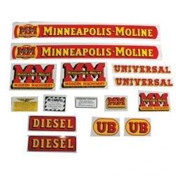 Tractor Decal Set, Minneapolis Moline UB Diesel, Mylar (Set Decal Tractor)