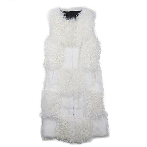 感じる正当化するペナルティファーベストレディース ロング毛皮ジャケット ラムファーアウター リアルラビットファーノー カラーコート、(ファー ストーリー)Fur Story 17217