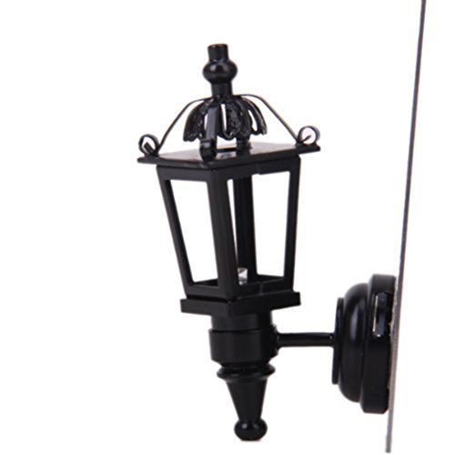 ROSENICE 1:12 Dollhouse Miniature Furniture LED Wall Light Lamp Battery Operated (Black)