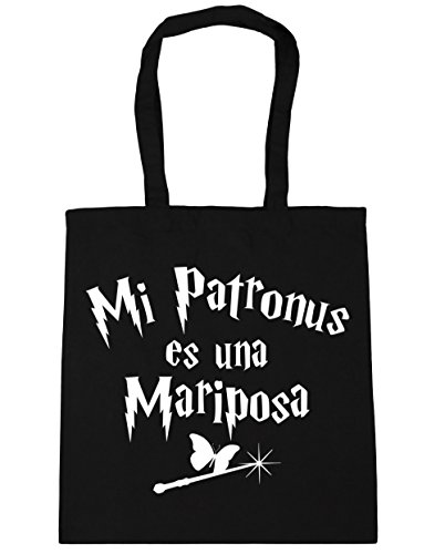 Hippowarehouse My Patronus Is A Butterfly Shopping Bag Beach Bag With Handles 42cm X 38cm For Fitness Black 10 Liters Capacity