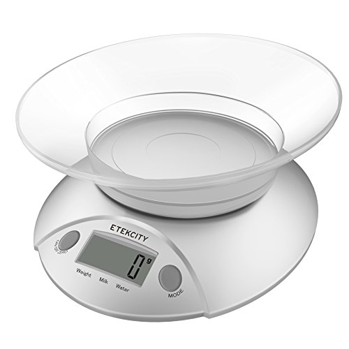 Etekcity Digital Food Scale and Multifunction Kitchen Weight Scale with Removable Bowl, 11 lb (0.1 Ounce Compact)