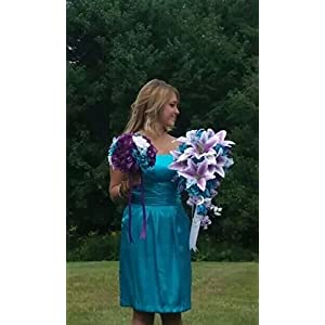 Cascade Wedding Bouquet - Turquoise Purple and Lavender Roses with White Calla Lilies 5