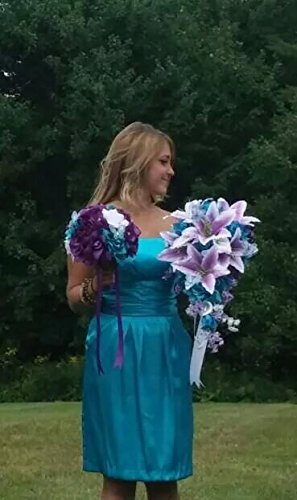 Cascade-Wedding-Bouquet-Turquoise-Purple-and-Lavender-Roses-with-White-Calla-Lilies