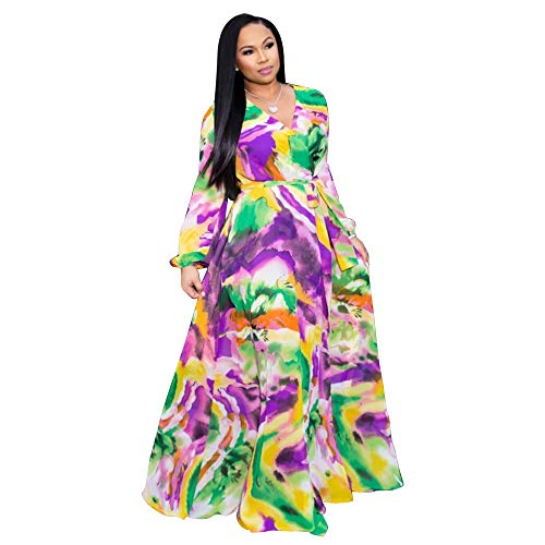 Nuofengkudu Womens Chiffon Deep V-Neck Printed Maxi Dress Unique Loose Summer Boho Dresses High Waisted (Purple) S