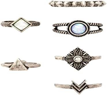 Women Punk Vintage Knuckle Rings Tribal Ethnic Hippie Stone Joint Ring Jewelry Set 6 PCS