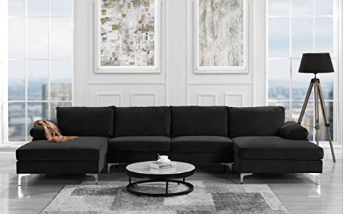 Modern Large Velvet Fabric U-Shape Sectional Sofa, Double Extra Wide Chaise Lounge Couch -