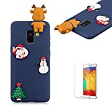 Cute Cartoon Case For Samsung Galaxy A8 Plus 2018,Funyee Stylish 3D Christmas Deer Design Ultra Thin Soft TPU Silicone Case for Samsung Galaxy A8 Plus 2018,Anti-scratch Rubber Durable Shell Smart Phone Case with Free Screen Protector,Blue
