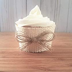Rustic Burlap Cupcake Wrappers, Ivory Cup Cake Wraps For Country Wedding Bridal Or Baby Shower Decorations Set of 12 Standard Size