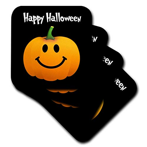 3dRose InspirationzStore Smiley Face Collection - Happy Halloween wish with orange pumpkin smiley face on spooky black Fun cute jack o lantern carving - set of 8 Coasters - Soft (cst_123155_2)