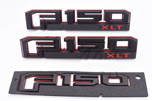 3pcs OEM F150 Xlt Fender Emblem F150 Rear Tailgate Badge 3D Logo Nameplate Replacement for F-150 Red Black Origianl Size Genuine Parts