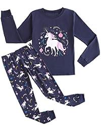 Big Girls Cute Cartoon Print Pajamas Kids Cotton Long Sleeve Sleepwear PJS