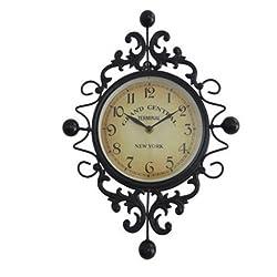 ELEGENCE-Z Vintage Wrought-Iron Wall Clock Creative European Simple Wall Clock Living Room Upscale Decoration, 29.541.5Cm