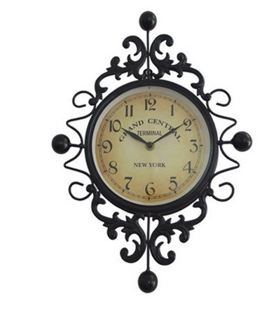 ELEGENCE-Z Vintage Wrought-Iron Wall Clock Creative European Simple Wall Clock Living Room Upscale Decoration, 29.541.5Cm