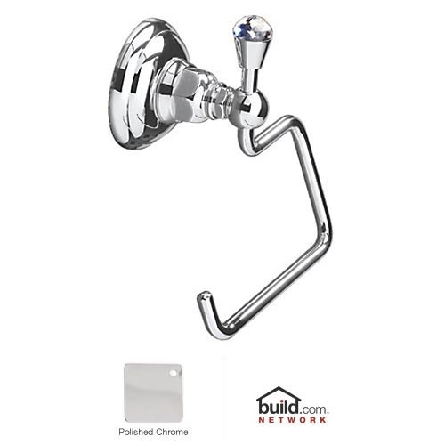 Rohl A1492CAPC Country Bath Single Toilet Paper Holder in Polished Chrome with Crystal Accent