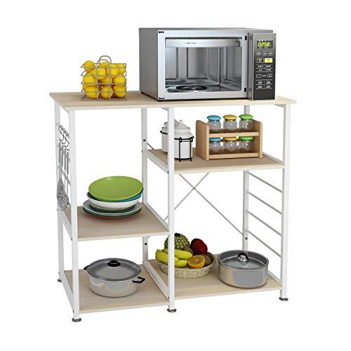 DlandHome Microwave Cart Stand 35.4 inches, Kitchen Baker's Rack Utility Storage Shelf Microwave Stand 3-Tierx3-Tier for Spice Rack Organizer Workstation Shelf, 171-M Maple, 1 Pack