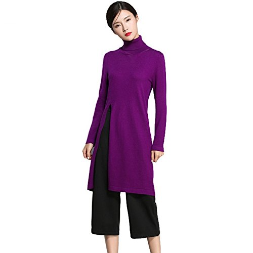 Women's Fashion turtleneck Pullover Loose Sexy Wool Cashmere Sweater side open hem (L, Purple)
