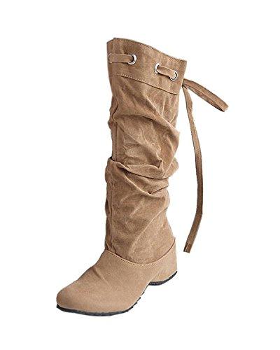 Maybest Femmes 4 Couleur Nouvelle Mode Demi Bottes Hiver Chaussures Coin Talon Bas Neige Chaussures Chaudes Kaki